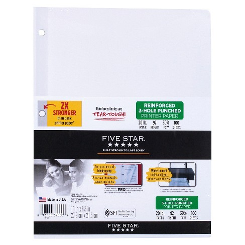 Five Star® Printer Filler Paper Reinforced Letter Size 100ct White - image 1 of 1