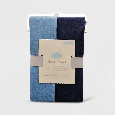 Fitted Playard Jersey Sheet - Cloud Island™ Navy & Blue 2pk