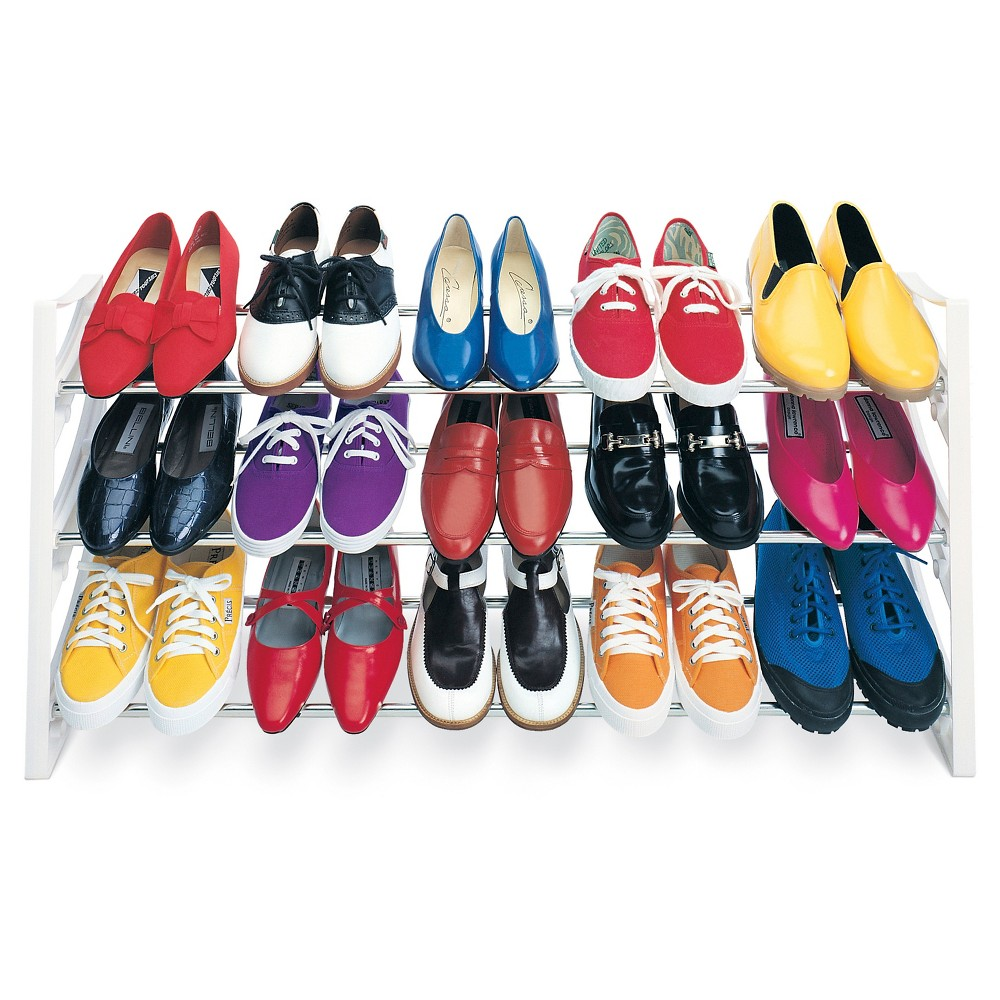 Image of Lynk 15 Pair Convertible Shoe Rack Organizer - 3 Tier - Closet Shoe Rack - White