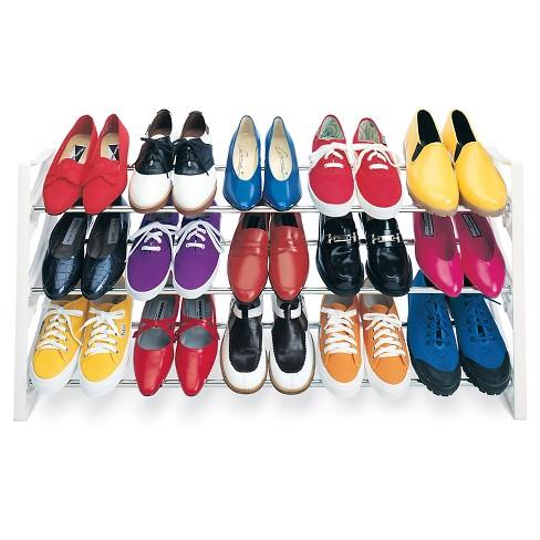 Lynk 15 Pair Convertible Shoe Rack Organizer - 3 Tier - Closet Shoe Rack - White - image 1 of 3