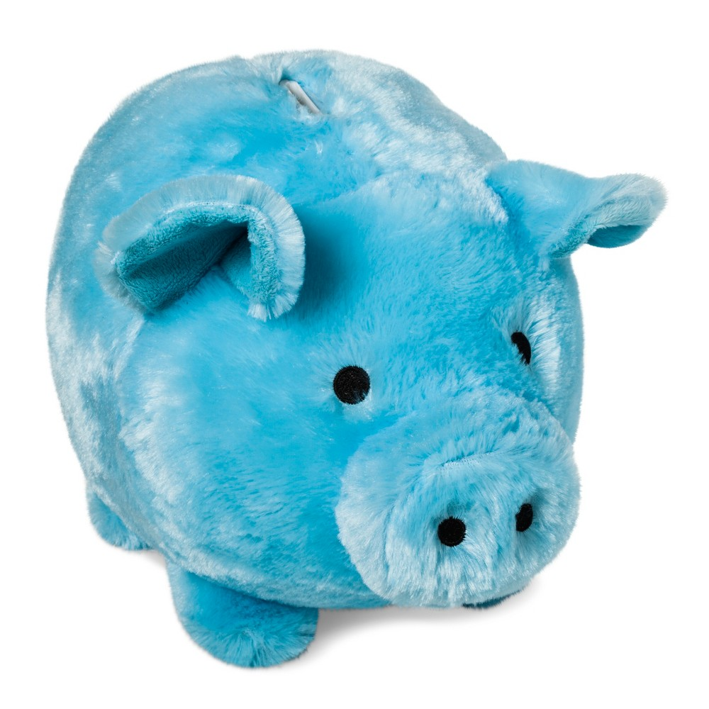 Image of Jumbo Plush Pig Blue Bank