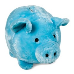 Jumbo Plush Pig Blue Bank