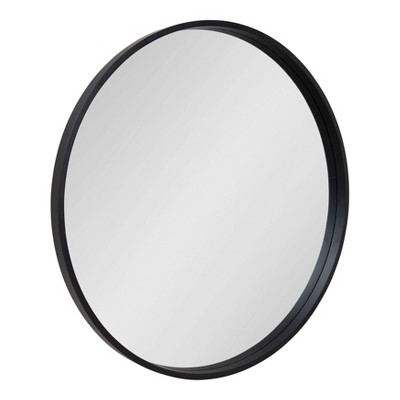 "32"" x 32"" Travis Round Wood Accent Wall Mirror Black - Kate and Laurel"