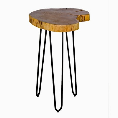 Alaterre Furniture Hairpin Live Edge Round End Table Metal And Wood Natural Brown