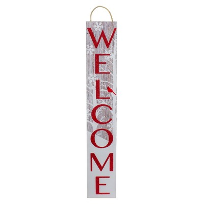 Northlight Red and White Cardinal 'Welcome' Christmas Wall Decor