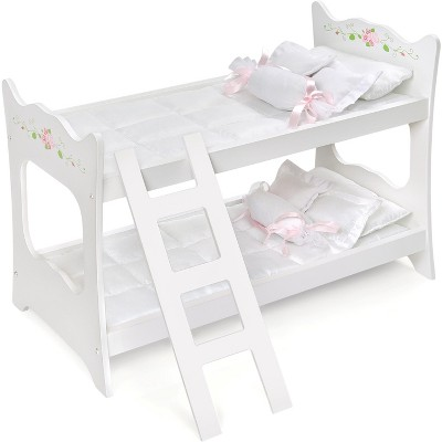 "Badger Basket White Rose 18"" Doll Bunk Bed"