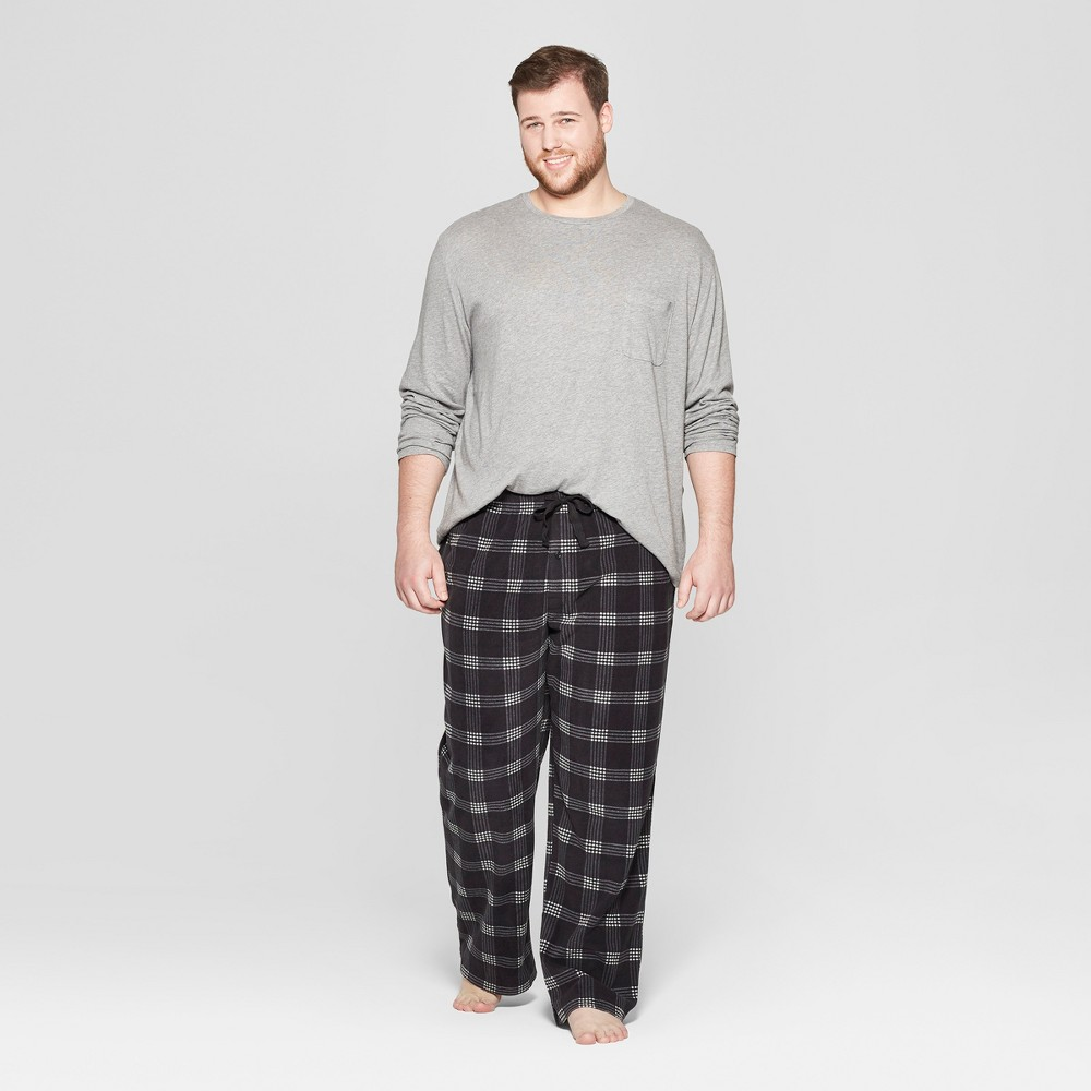 Men's Big & Tall Plaid Microfleece Pajama Set - Goodfellow & Co Heather Gray 5XB