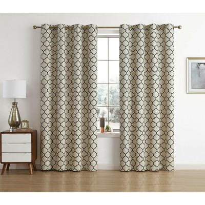 Kate Aurora Chic Living 100% Max Blackout Trellis Thermal Curtains