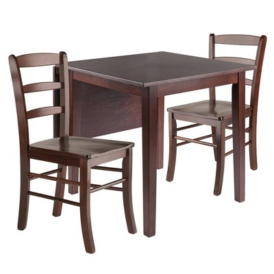 3pc Perrone Drop Leaf Dining Table Set with Ladder Back Chair Walnut - Winsome