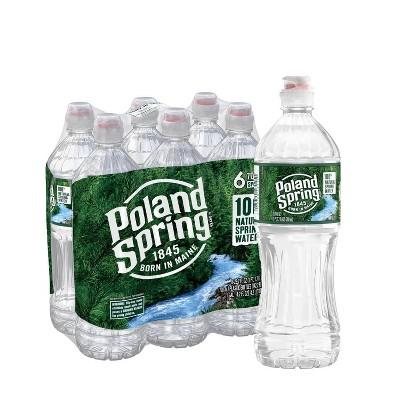 Poland Spring Brand 100% Natural Spring Water - 6pk/23.7 fl oz Sport Cap Bottles