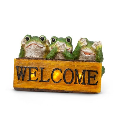 """GIL 10.6""""L Solar Resin Frogs Holding Welcome Sign"""