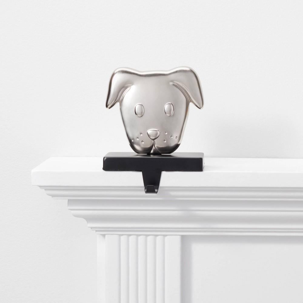 Image of 1ct Dog Christmas Stocking Holder Silver and Black - Wondershop , Silver Black