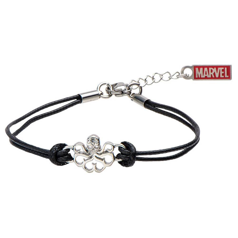 Women's Marvel Hydra Cutout Stainless Steel in Black Leather Cord Bracelet (7 + 1 ext.), Black/Silver