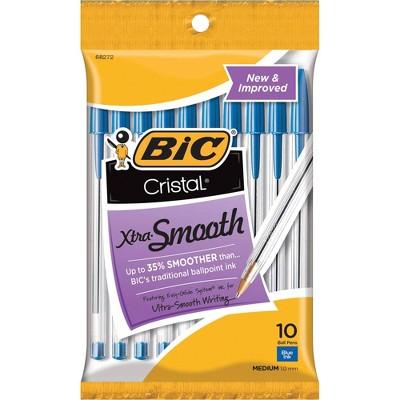 Bic Stic Ballpoint Pen,Medium Point,10/PK,Blue Ink/Clear Barrel MSP101BE