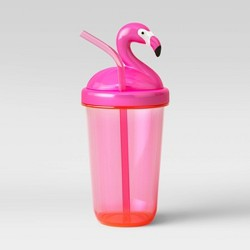 17oz Plastic Flamingo Tumbler with Straw Pink - Sun Squad™