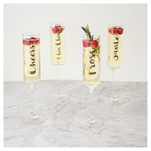 contemporary gold cheers champagne flutes drinkware set target