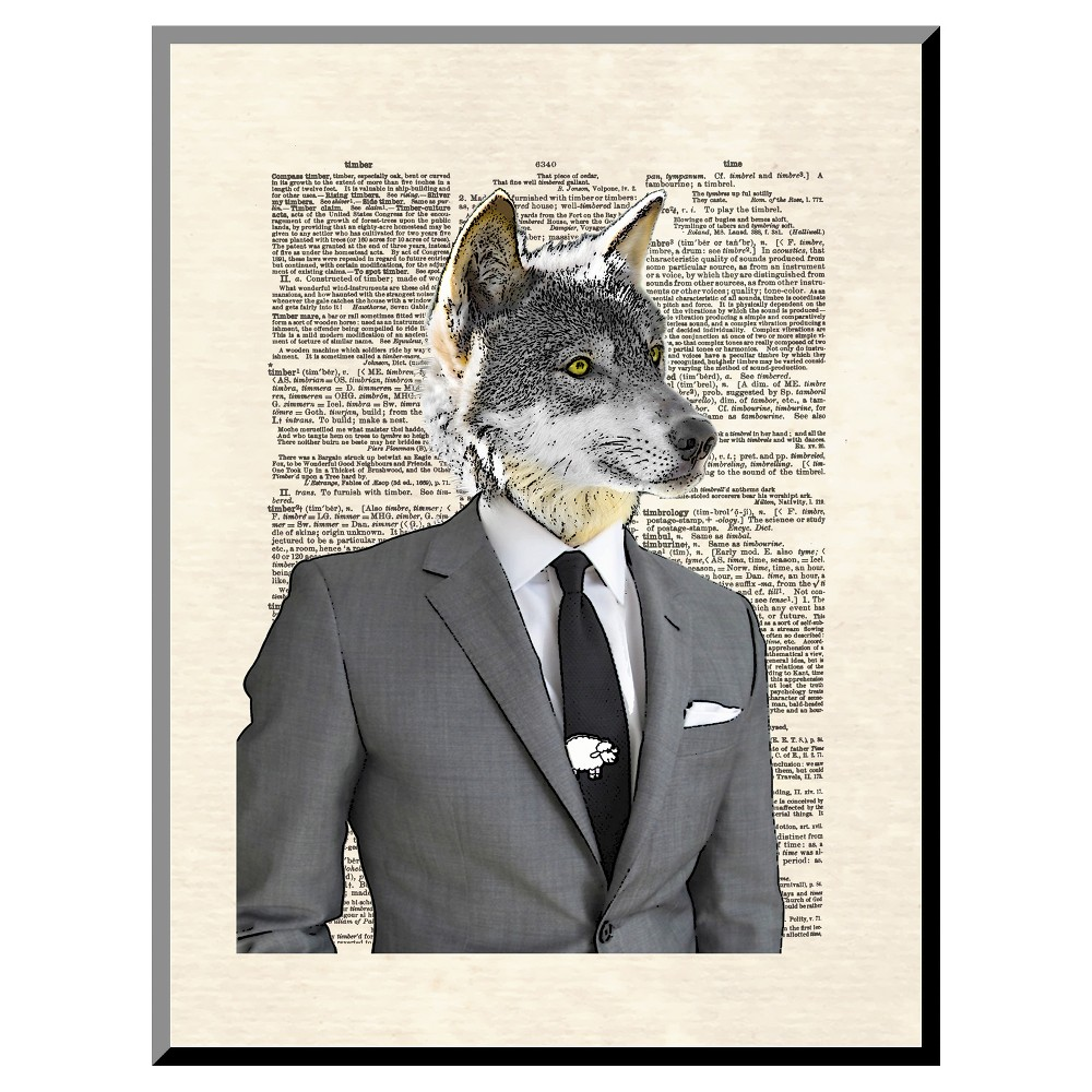 Wolf Of Wall Street Mounted Print, Silver Gray