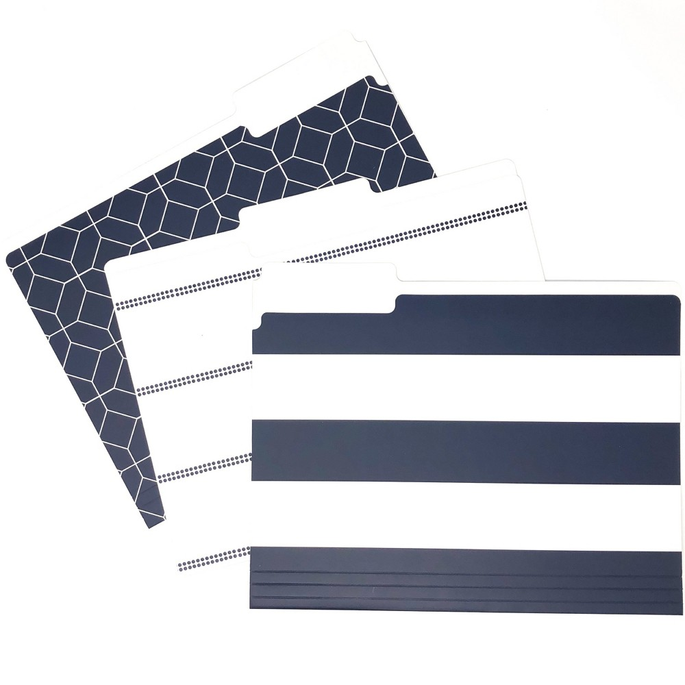 Image of 9ct File Folders Navy Assorted Patterns - Kahootie Co, Blue