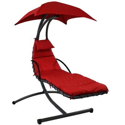Floating Chaise Lounge Chair with Canopy Umbrella - Red - Sunnydaze Decor