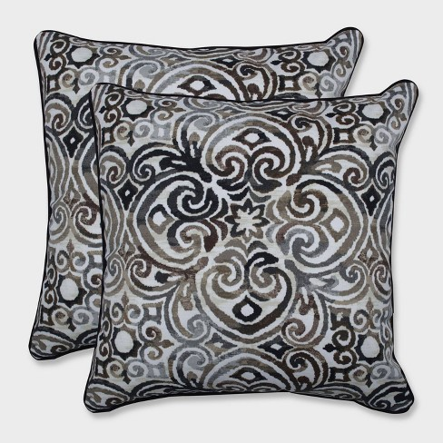 "18.5"" 2pk Corrinthian Driftwood Throw Pillows Black - Pillow Perfect - image 1 of 1"