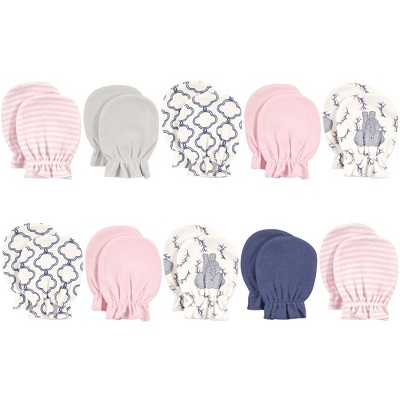 Touched by Nature Baby Girl Organic Cotton Scratch Mitten 10pk