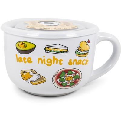 Silver Buffalo Gudetama Late Night Snack 24 Ounce Ceramic Bowl with Lid