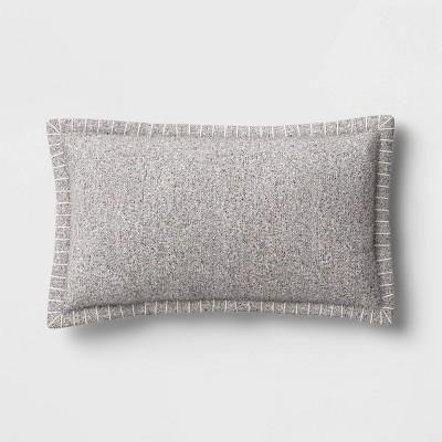 Oversized Lumbar Tweed Throw Pillow with Whipstitch Edge Gray - Threshold™