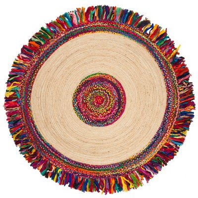 6' Solid Woven Round Area Rug Ivory/Red - Safavieh