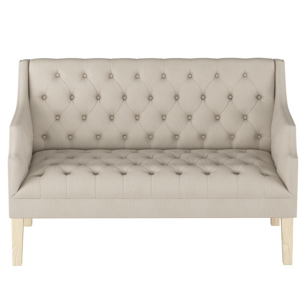Tufted Settee Light Gray with Natural Legs - Threshold