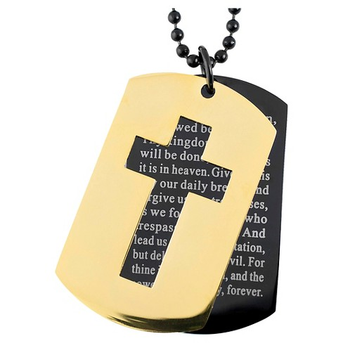 Men's West Coast Jewelry Two-Tone Stainless Steel Cross and 'Lord's Prayer' Double Dog Tag Pendant - image 1 of 1
