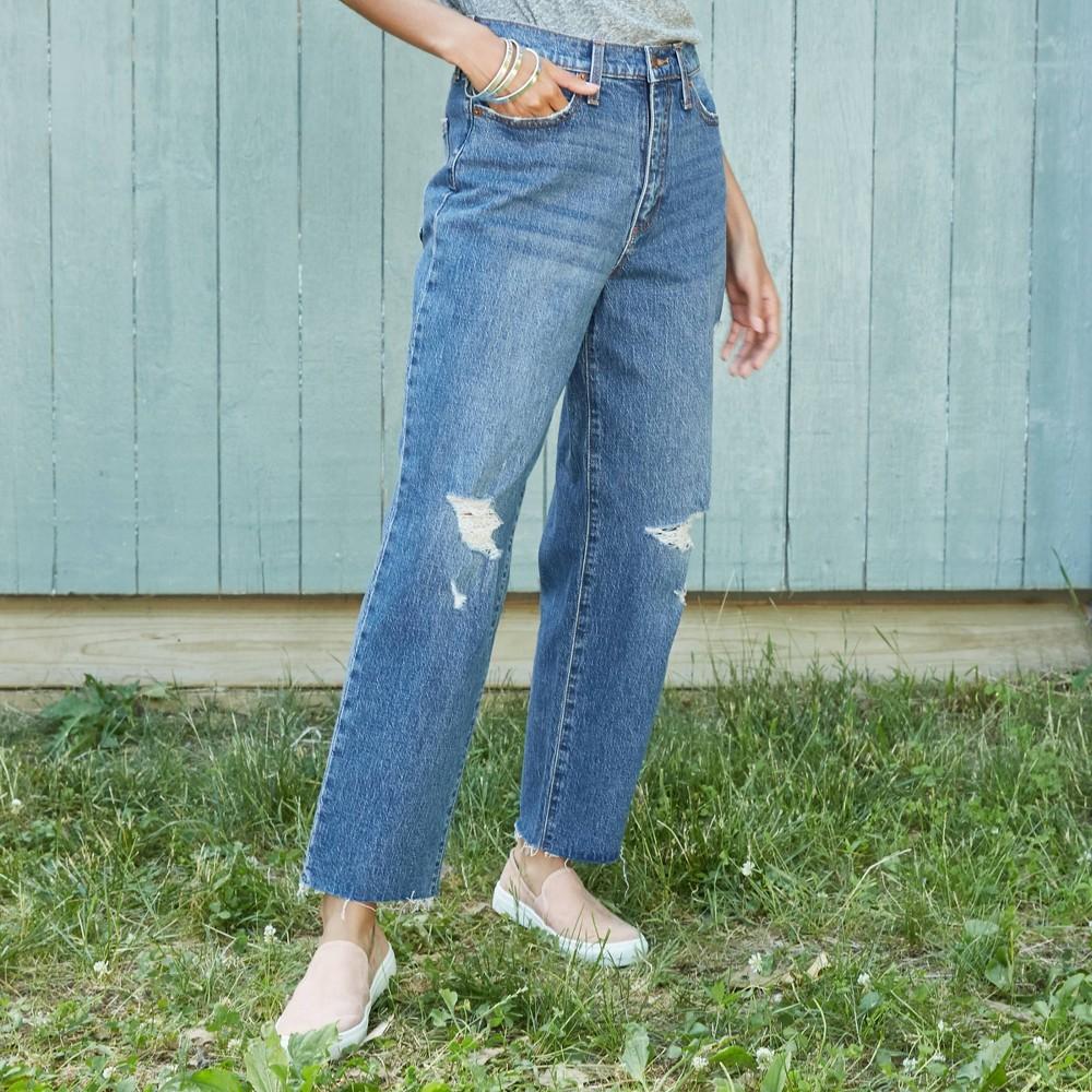 Women 39 S High Rise Vintage Straight Cropped Jeans Universal Thread 8482 Medium Blue 14