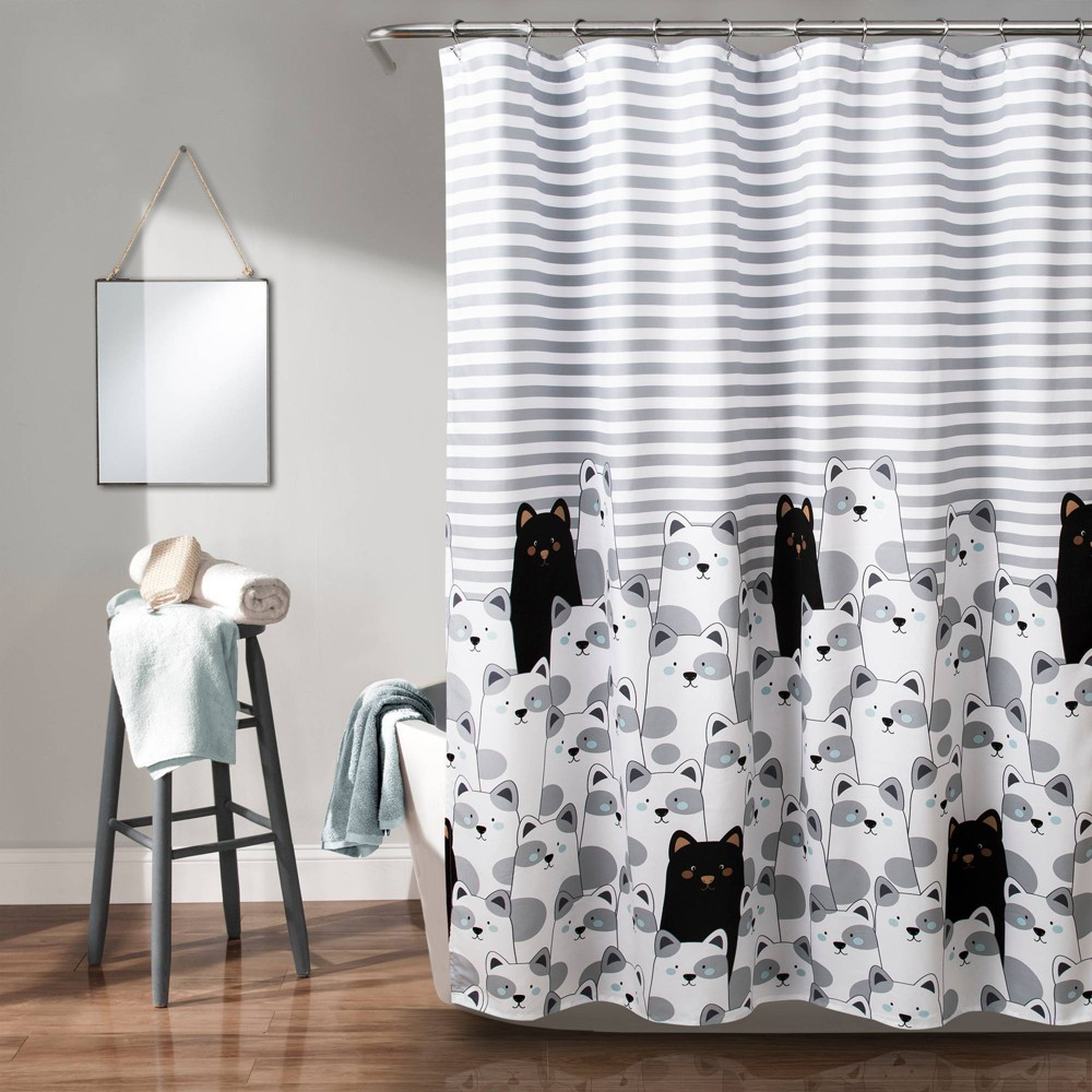 "Image of ""72""""x72"""" Striped Bear Shower Curtain Gray/Black - Lush Décor"""