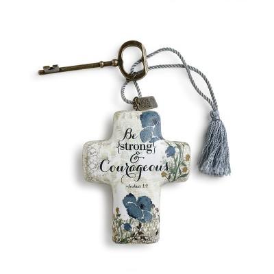 """DEMDACO Strong & Courageous Artful Cross 4"""" - Blue"""