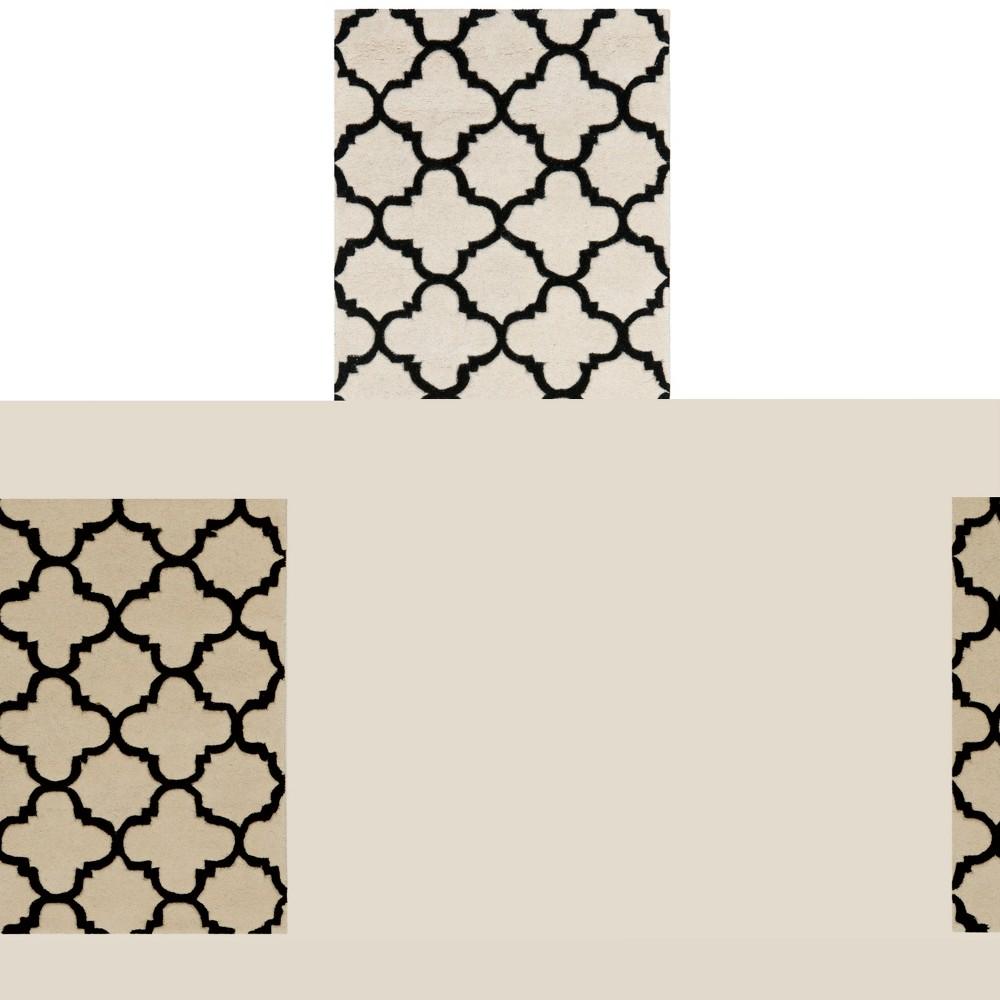 2'3X7' Tufted Quatrefoil Design Runner Rug Ivory - Safavieh, Ivory/Black