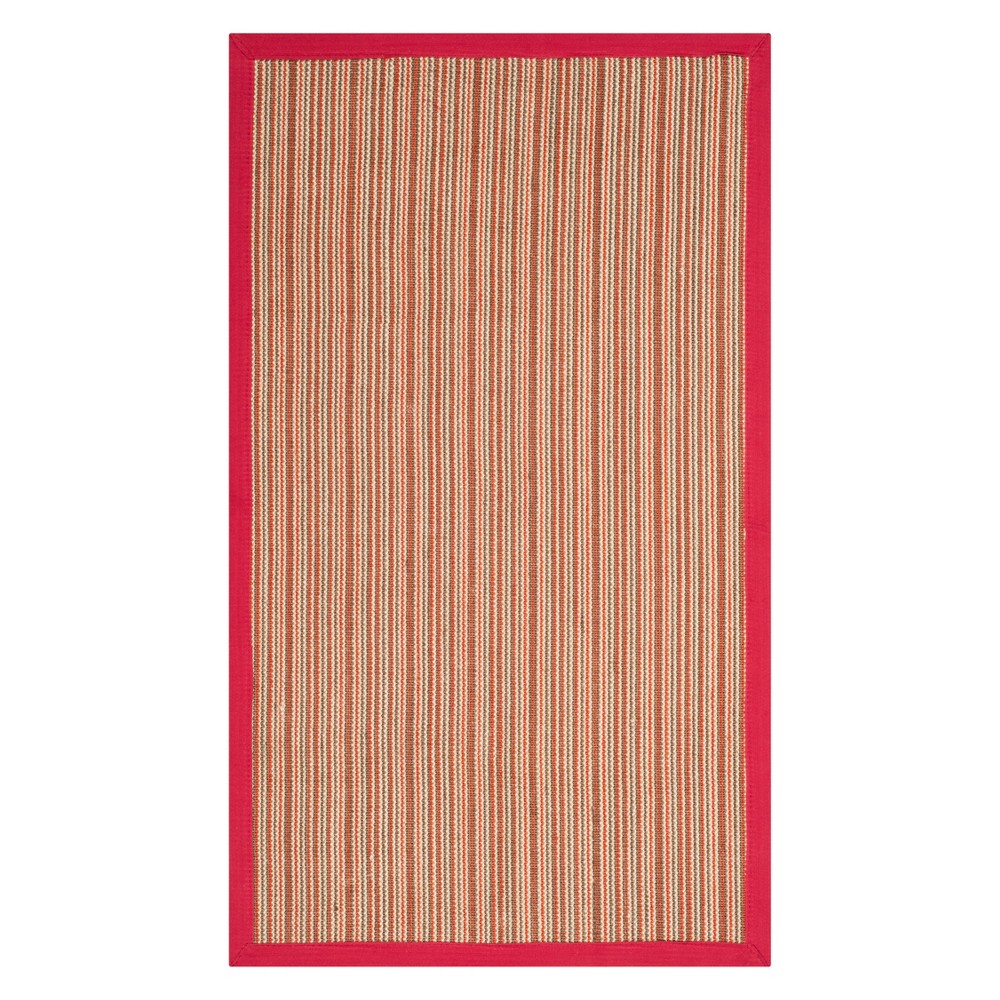 3'X5' Stripe Loomed Accent Rug Brown/Red - Safavieh