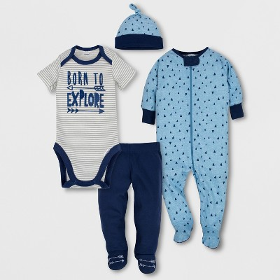 Gerber Baby Boys' 4pc Short Sleeve Bodysuit, Long Sleeve Sleeper Pants and Cap Set - Blue 3-6M