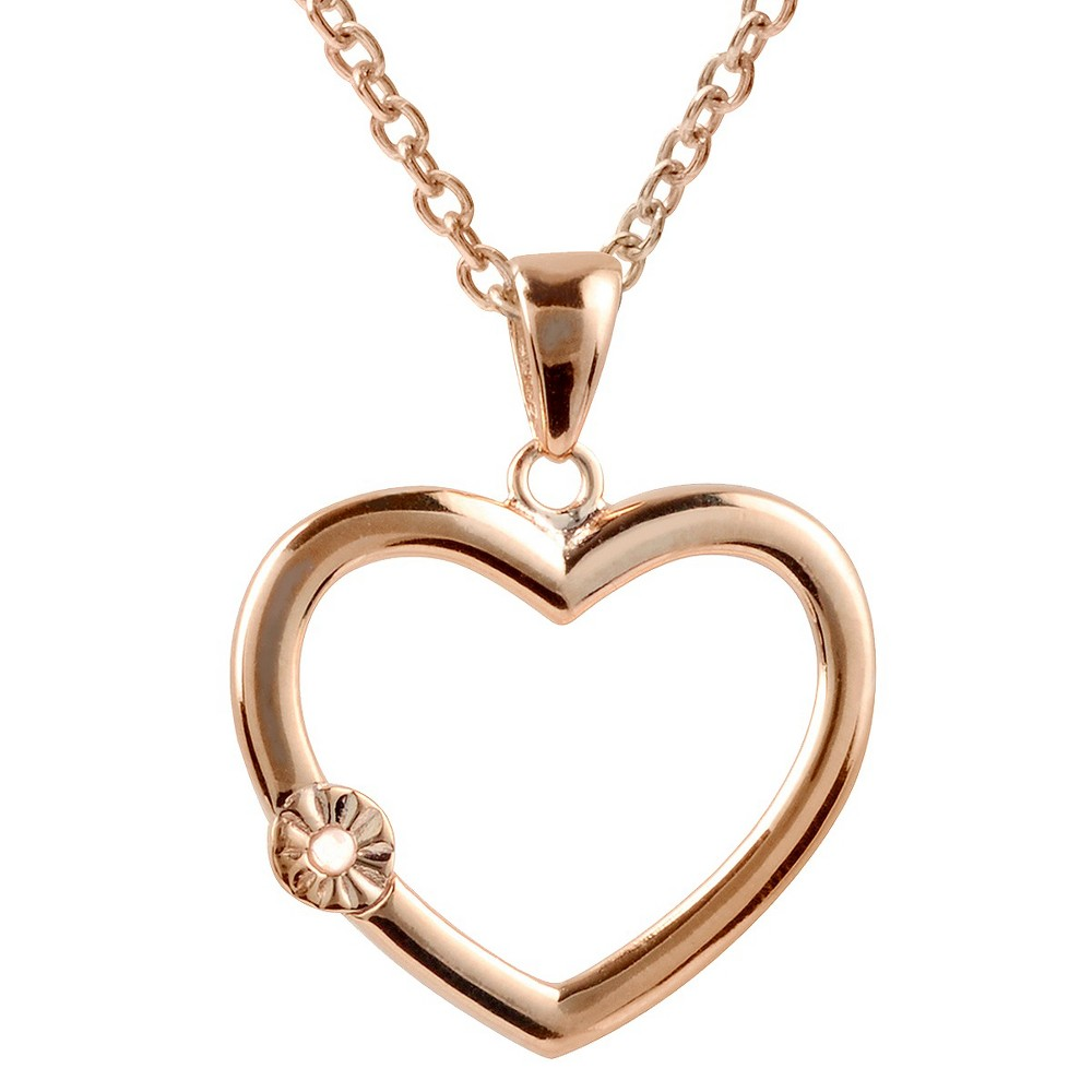 1/50 CT. T.W. Journee Round Cut Diamond Pave Set Heart Necklace in Sterling Silver - RoseGold, Rose Gold