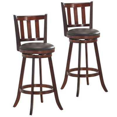 Costway Set of 2 29.5'' Swivel Bar stool Leather Padded Dining Kitchen Pub Bistro Chair High Back