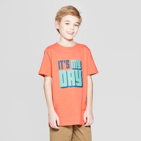 Boys' Short Sleeve It's My Day Graphic T-Shirt - Cat & Jack™ Orange - image 1 of 3