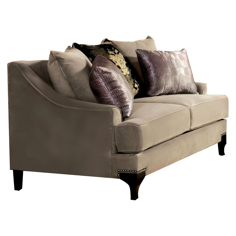 ioHomes Joran Modern Upholstered Love Seat in Taupe Gray, Taupe Gray Opaque