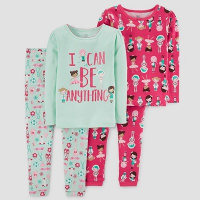 Baby Girls' 4pc I can Be Anything Long Sleeve Pajama Set - Just One You® made by carter's Green 12M