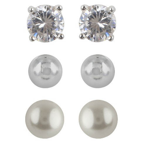 Sterling Silver Cubic Zirconia Stud Earring Set - Silver/Pearl - image 1 of 1