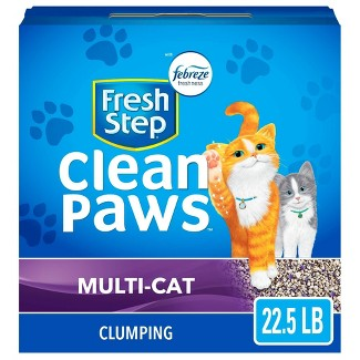 Fresh Step Clean Paws Multi-Cat With The Power Of Febreze Scented Clumping Cat Litter - 22.5lbs : Target