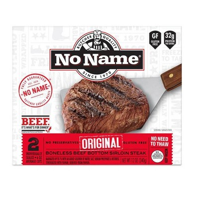 No Name Original Sirloin Steaks - Frozen - 12oz/2ct