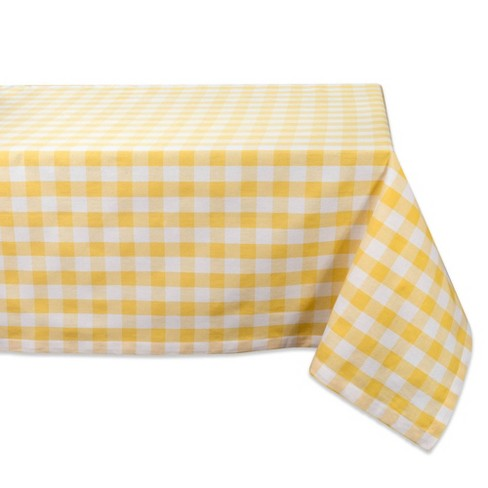 """84""""X60"""" Checkers Tablecloth Yellow - Design Imports - image 1 of 4"""