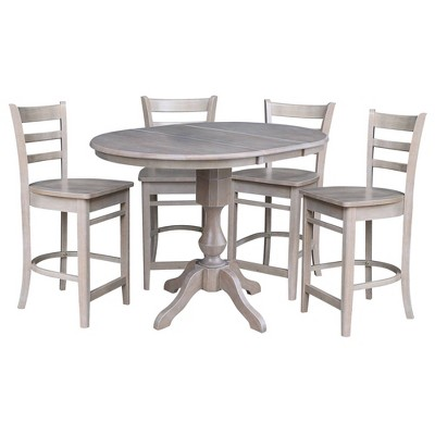 """36"""" Jack Round Extendable Dining Table with 12"""" Drop Leaf and 4 Emily Counter Height Barstools - International Concepts"""