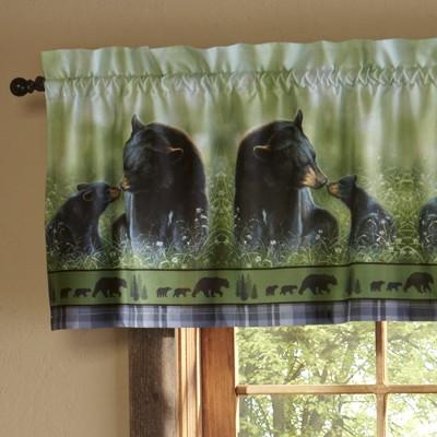 Lakeside Black Bear Window Valance - Decorative Animal Lodge Themed Curtain