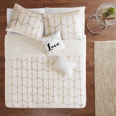 5pc Full/Queen Arielle Printed Coverlet Set Ivory/Gold