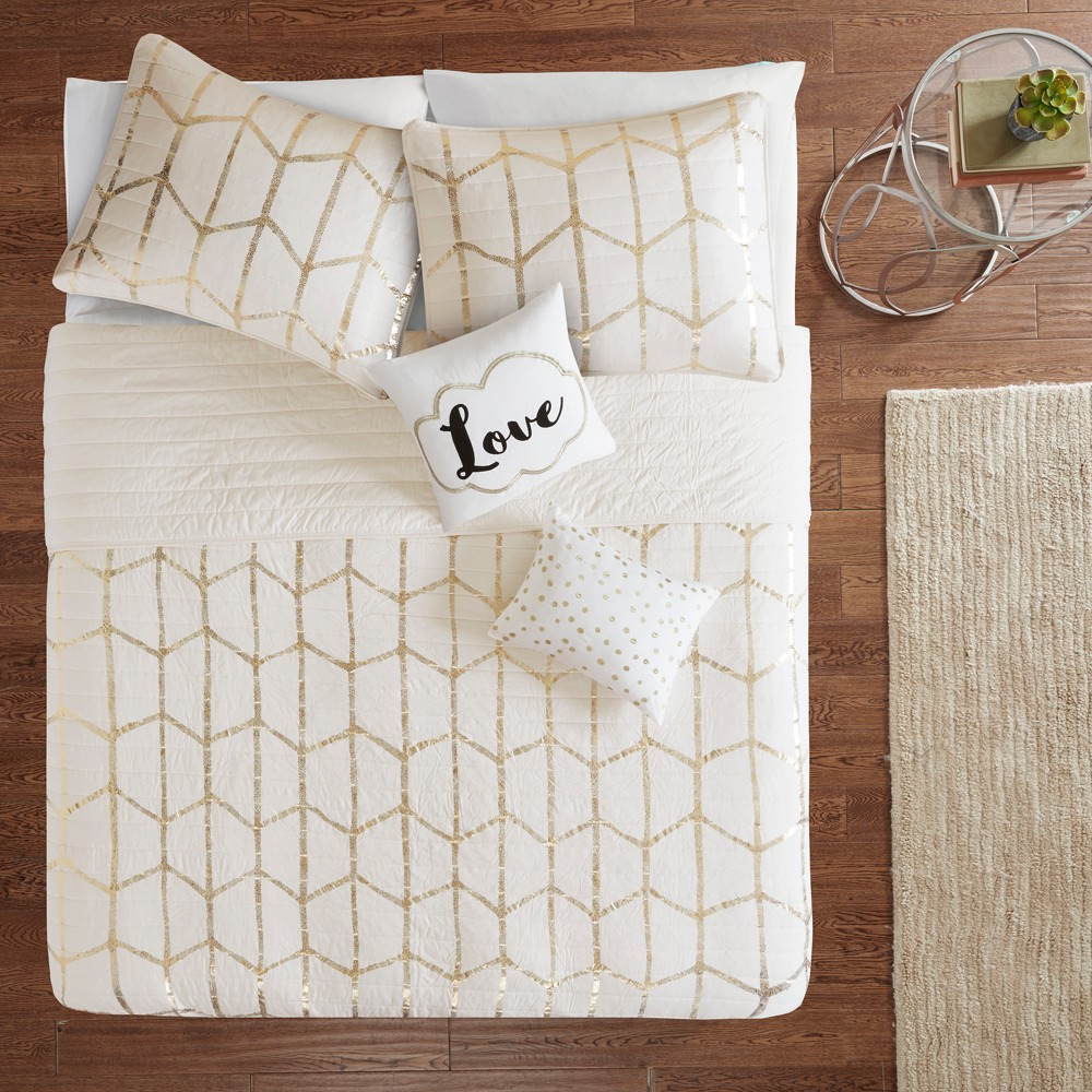 Image of 5pc King/California King Arielle Printed Coverlet Set Ivory/Gold