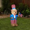 Gemmy Airblown Inflatable Patriotic Teddy Bear, 4 ft Tall, blue - image 2 of 2
